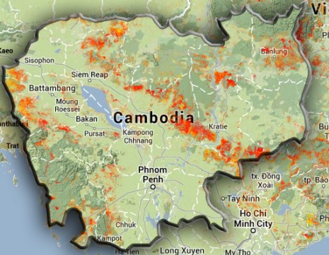 Areas of forest clearing across Cambodia between 2000 and 2012 appear in red in this map compiled using U.S. satellite data. (University of Maryland)