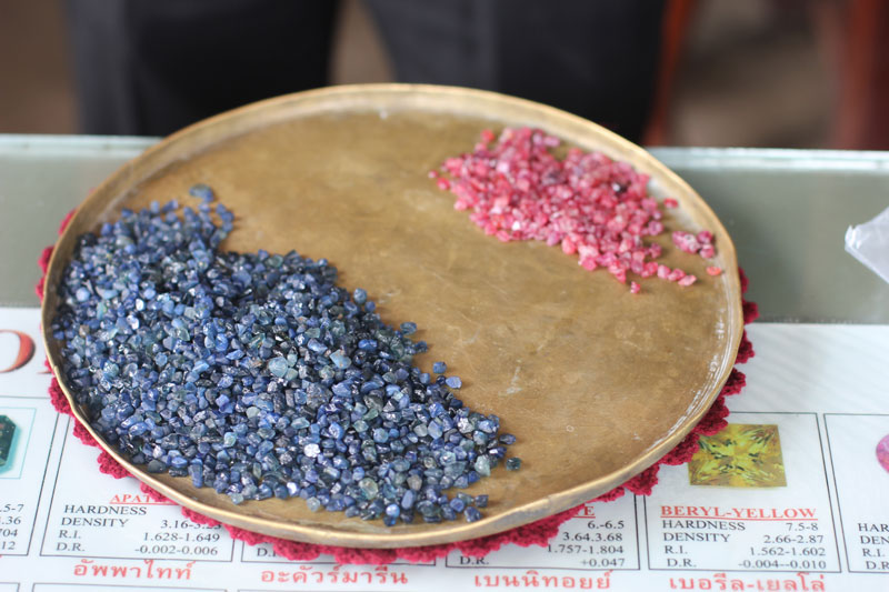 Rubies and sapphires on sale in Pailin City. (Alex Willemyns/The Cambodia Daily)
