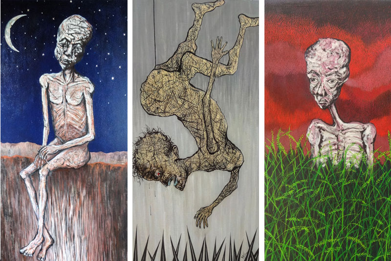 From left: 'Waiting for the Last Sunrise,' 'The Falling Faqir' and 'Starving in Opulence,' by Mil Chankrim (Alain Troulet)