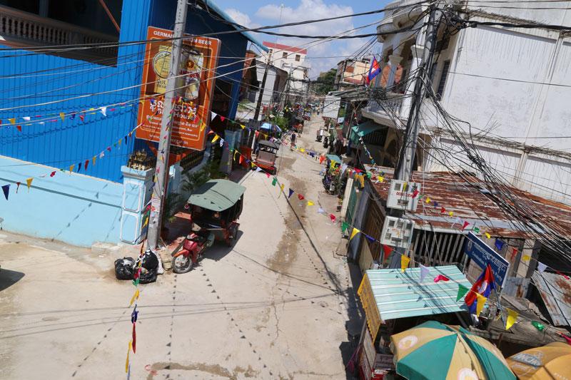 A view of Street 93 in Phnom Penh's Boeng Kak neighborhood (Aria Danaparamita/The Cambodia Daily)