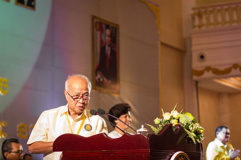 Prince Norodom Ranariddh delivers a speech to Funcinpec officials and supporters yesterday at a special congress during which he was once again elected as the party's president. (Alex Willemyns/The Cambodia Daily)