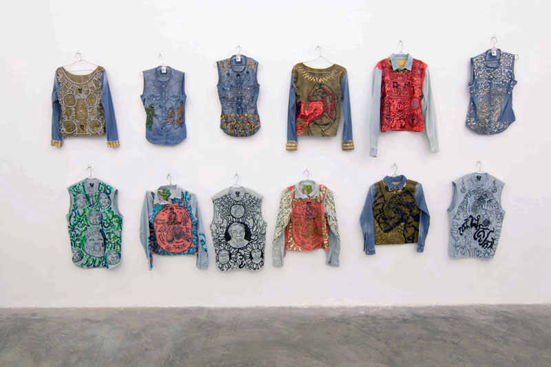 'Fast Fashion,' embroidery on 12 garments by Jakkai Siributr (Prum Ero/Sa Sa Bassac)