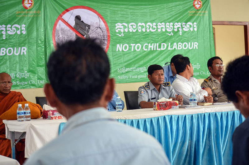 Local officials attend the third annual 'No to Child Labor' seminar hosted by the Phnom Penh Sugar company at its headquarters in Kompong Speu province on Thursday. (Alex Consiglio/The Cambodia Daily)
