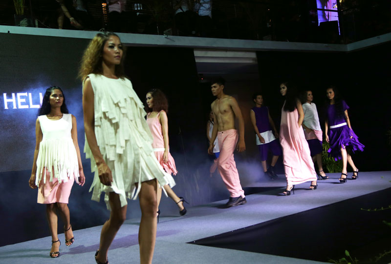 Models present a collection by Hello Hello during PPDW on Thursday. (Aria Danaparamita/The Cambodia Daily)