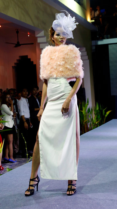 A model presents a look from Natacha Van during PPDW on Thursday. (Siv Channa/The Cambodia Daily)