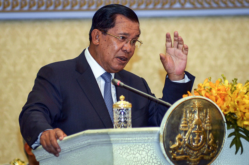 Prime Minister Hun Sen speaks at his 'Peace Palace' on Wednesday during the launch of the Cambodia Industrial Development Policy 2015-2025. (Khem Sovannara)