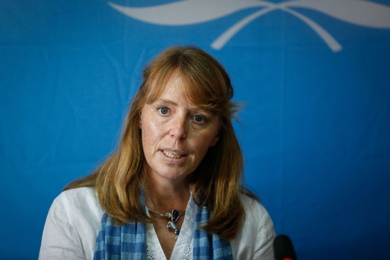 UN human rights envoy to Cambodia Rhona Smith speaks at a press conference at the UN's Office of the High Commissioner for Human Rights in Phnom Penh last year. (Siv Channa/The Cambodia Daily)