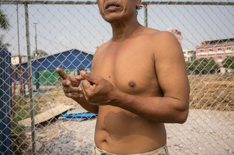 Mr Chantha speaks in March. (Ben Woods/The Cambodia Daily)