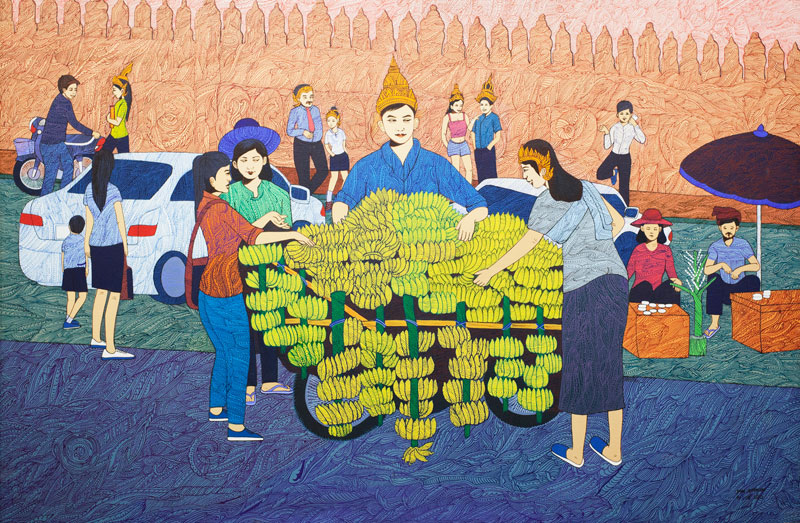 A painting by Phe Sophon (Jens Welding Ollgaard/The Cambodia Daily)