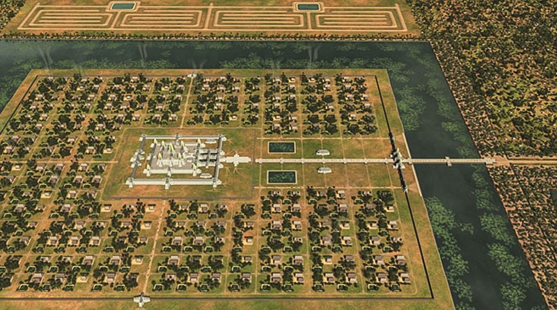 An artistic rendering of the Angkor Wat temple complex based on new research shows the residential grid system around the main temples and part of a mysterious spiraled structure to the south. (Antiquity)