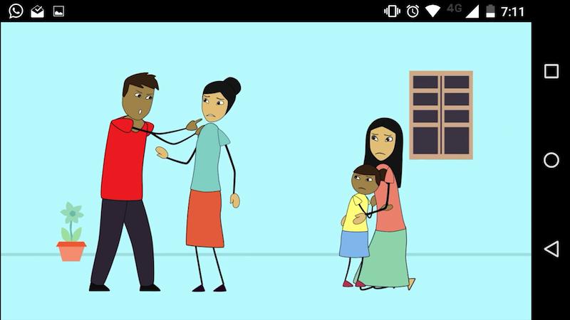 A screenshot of an animated scene from The Asia Foundation's Krousar Koumrou smartphone app
