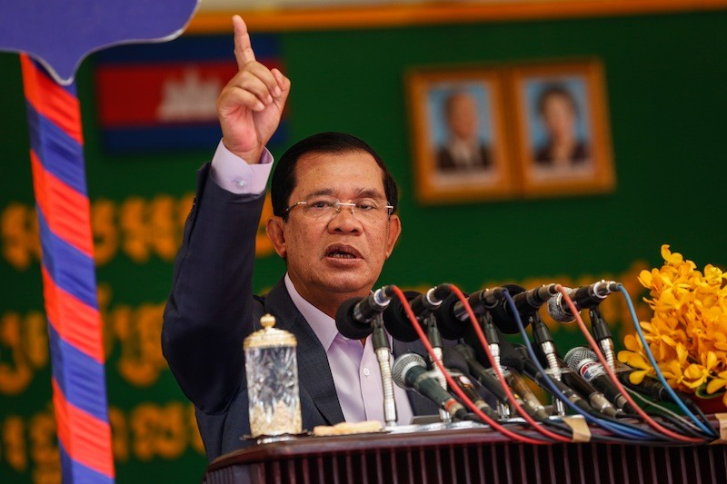 Prime Minister Hun Sen speaks during the inauguration of a new building at Phnom Penh City Hall on Tuesday. (Siv Channa/The Cambodia Daily)