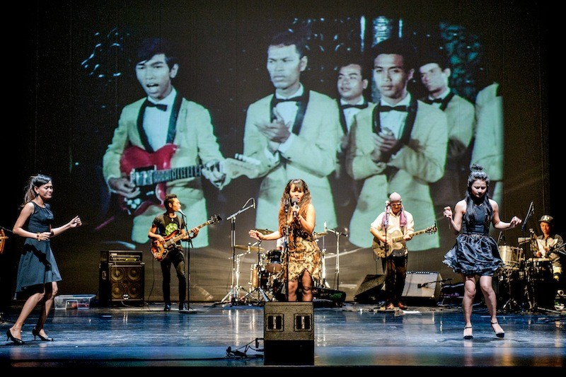 The Cambodian Space Project performs at Berlin's Hebbel Theater in 2014. (Monika Ritterhaus)