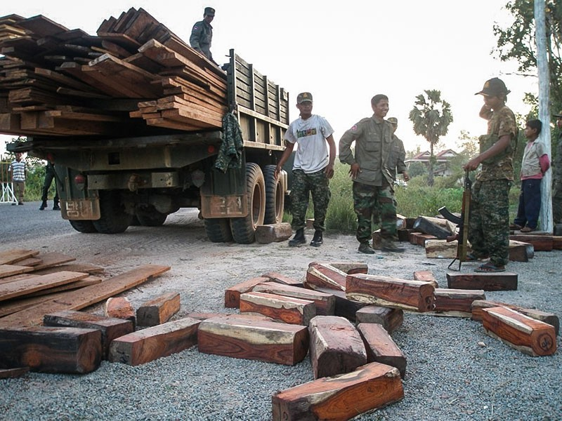 Soldiers surrender a truckload of rosewood they were attempting to smuggle through Siem Reap province in 2011. (Lay Vesna)