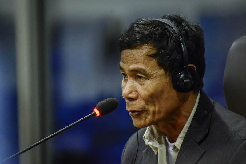Him Huy testifies at the Khmer Rouge tribunal in Phnom Penh yesterday. (ECCC)