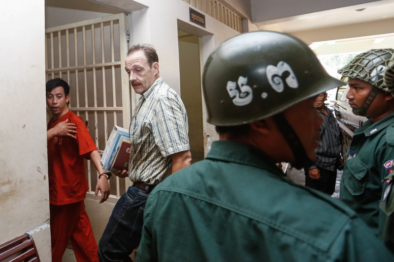 Greg Fryett at the Phnom Penh Municipal Court yesterday (Siv Channa/The Cambodia Daily)