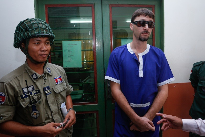 Russian fugitive Vladimir Batalin at the Court of Appeal in Phnom Penh on Wednesday. (Siv Channa/ The Cambodia Daily)