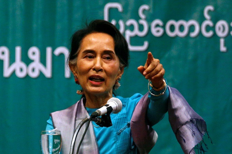 Burmese leader Aung San Suu Kyi speaks during a meeting with migrant workers outside Bangkok on Friday. (Reuters)