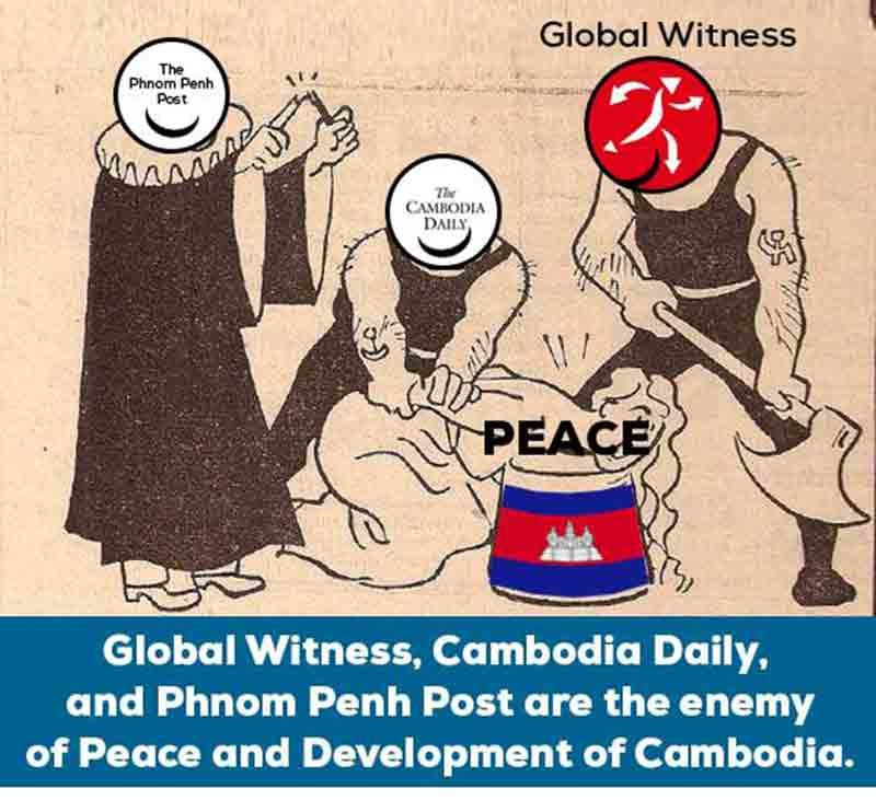 The Phnom Penh Post, The Cambodia Daily and Global Witness prepare to execute 'Peace' in a cartoon published by Fresh News on Friday.