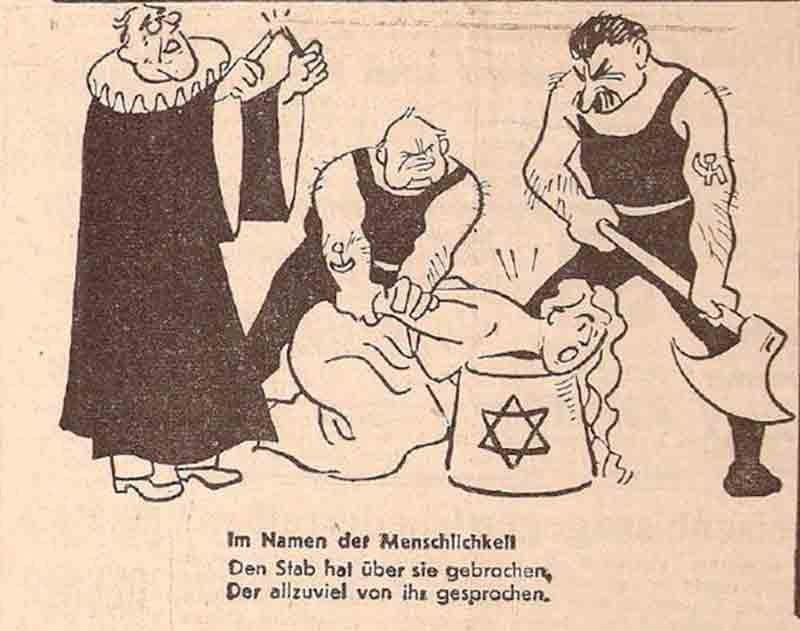 From left, former U.S. President Franklin Roosevelt, British Prime Minister Winston Churchill and Soviet dictator Joseph Stalin prepare to execute 'Peace' in a 1943 Nazi propaganda cartoon published by Der Sturmer newspaper.