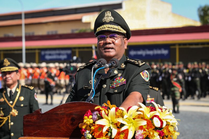 Hing Bun Heang, the commander of the prime minister's bodyguard unit, speaks at its anniversary event in Kandal province on Sunday. (Khem Sovannara)