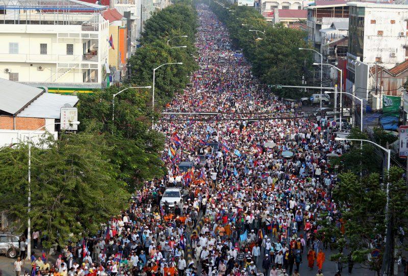 Mass demonstrations in Phnom Penh in January 2014.