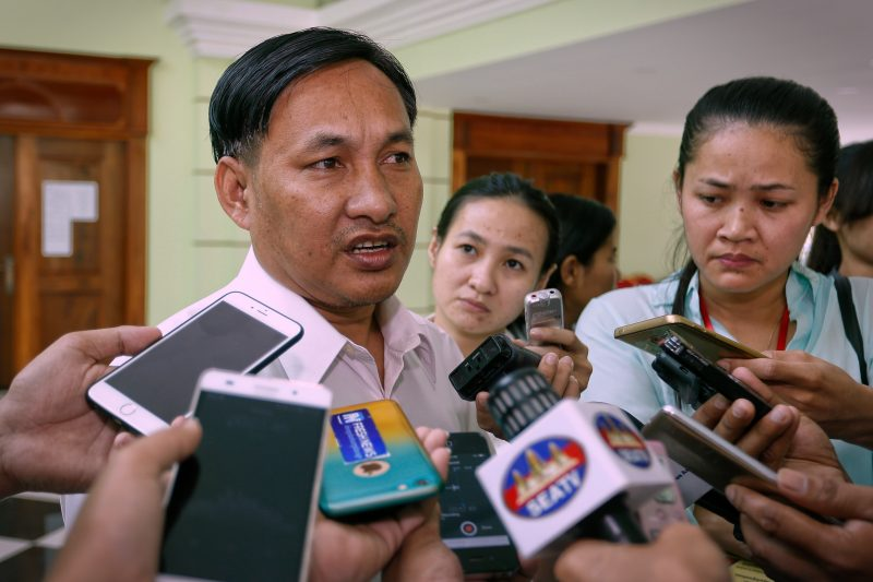 San Chey, country director of NGOAffiliated Network for Social Accountability, speaks to reporters after a meeting in Phnom Penh on Friday with the Ministry of Mines and Energy. (Siv Channa/The Cambodia Daily)