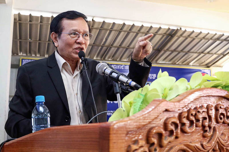 Deputy opposition leader Kem Sokha speaks to CNRP youth members at the party's headquarters in Phnom Penh on Sunday, in a photograph posted to his Facebook page.